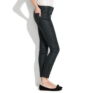 Madewell Skinny Skinny Coated Moto Jeans Black 26